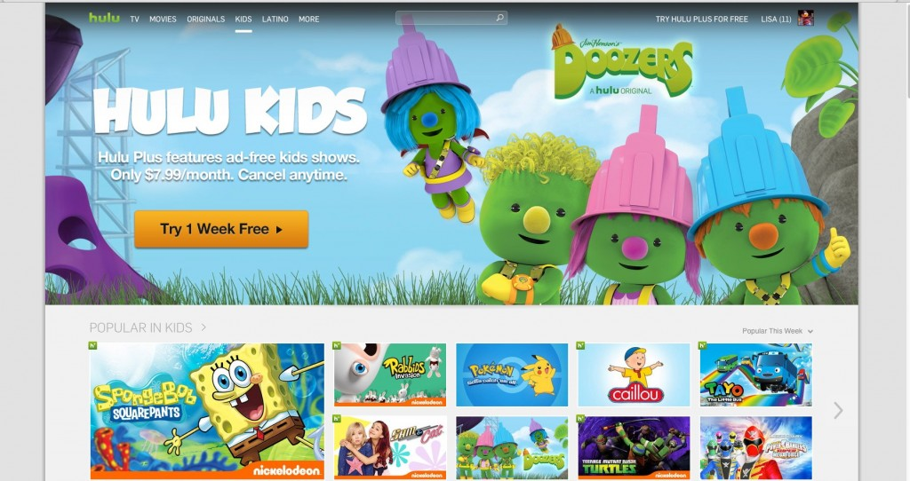 Hulu Kids web interface